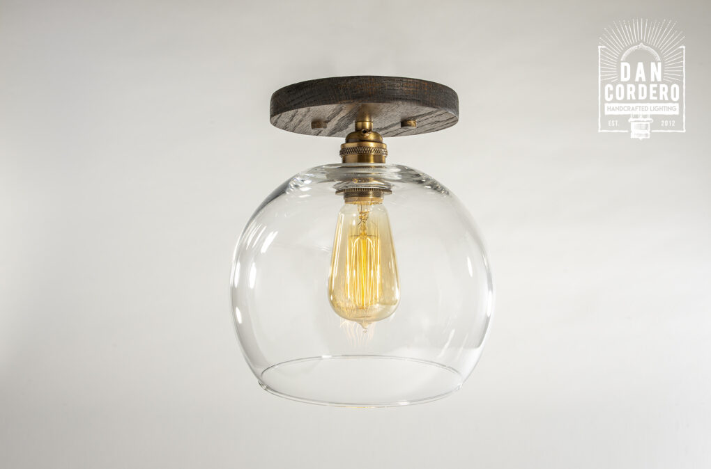 Globe Wooden Canopy Ceiling Light