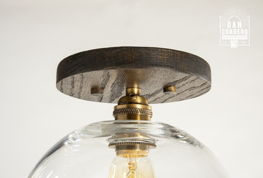 Wood Canopy Flush Mount Light Fixture