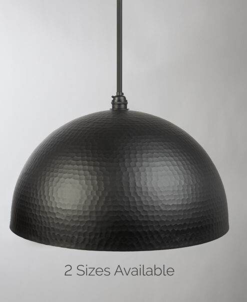 Flat Black Hammered Pendant Light