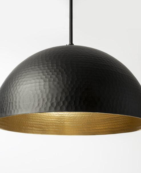 Hammered Metal Flat Black Light Fixture