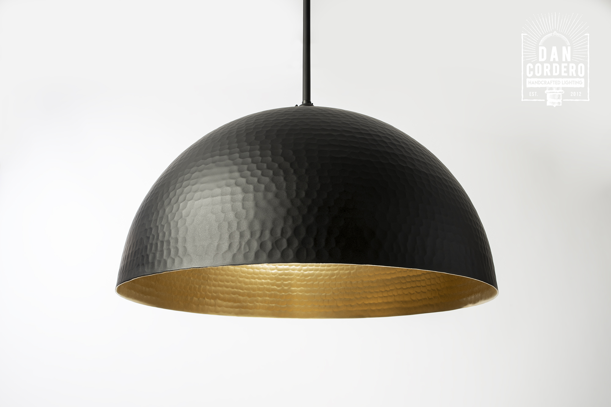 Hammered Flat Black Dome Pendant Light Fixture