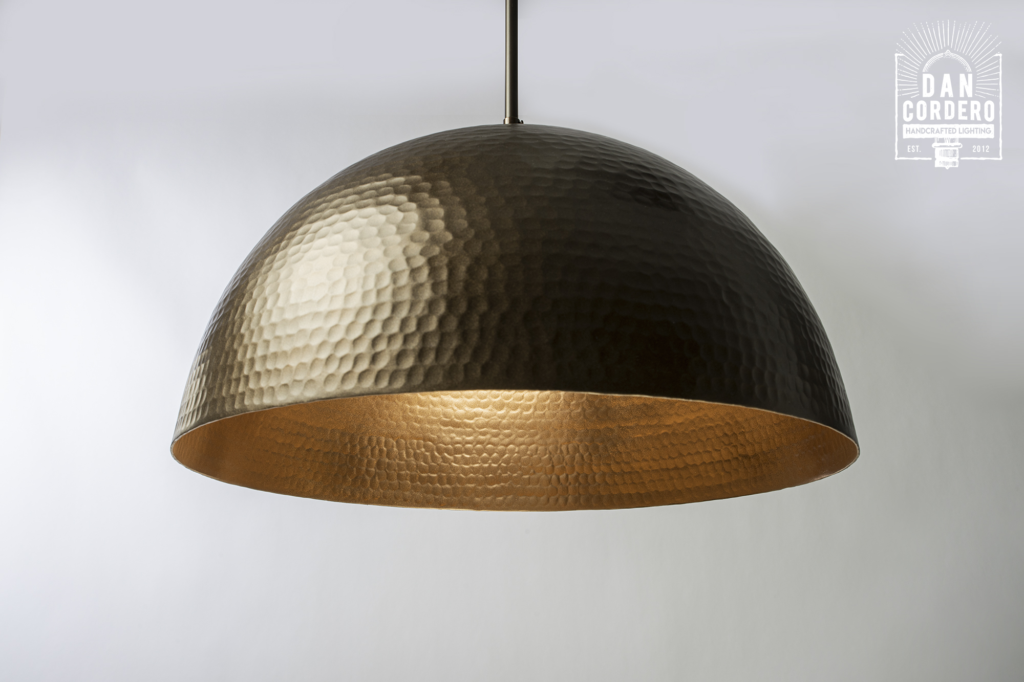 Hammered Bronze Dome Pendant Light