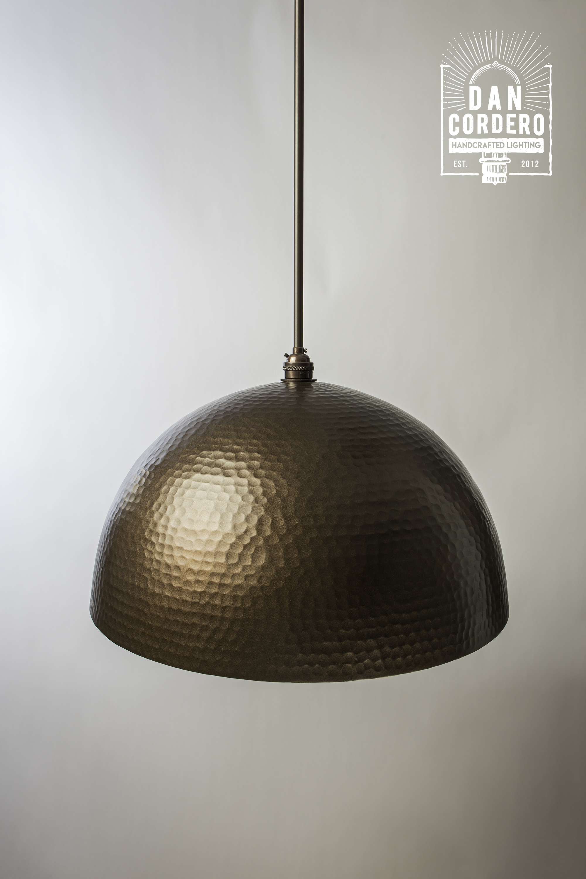Hammered Bronze Dome Pendant Light