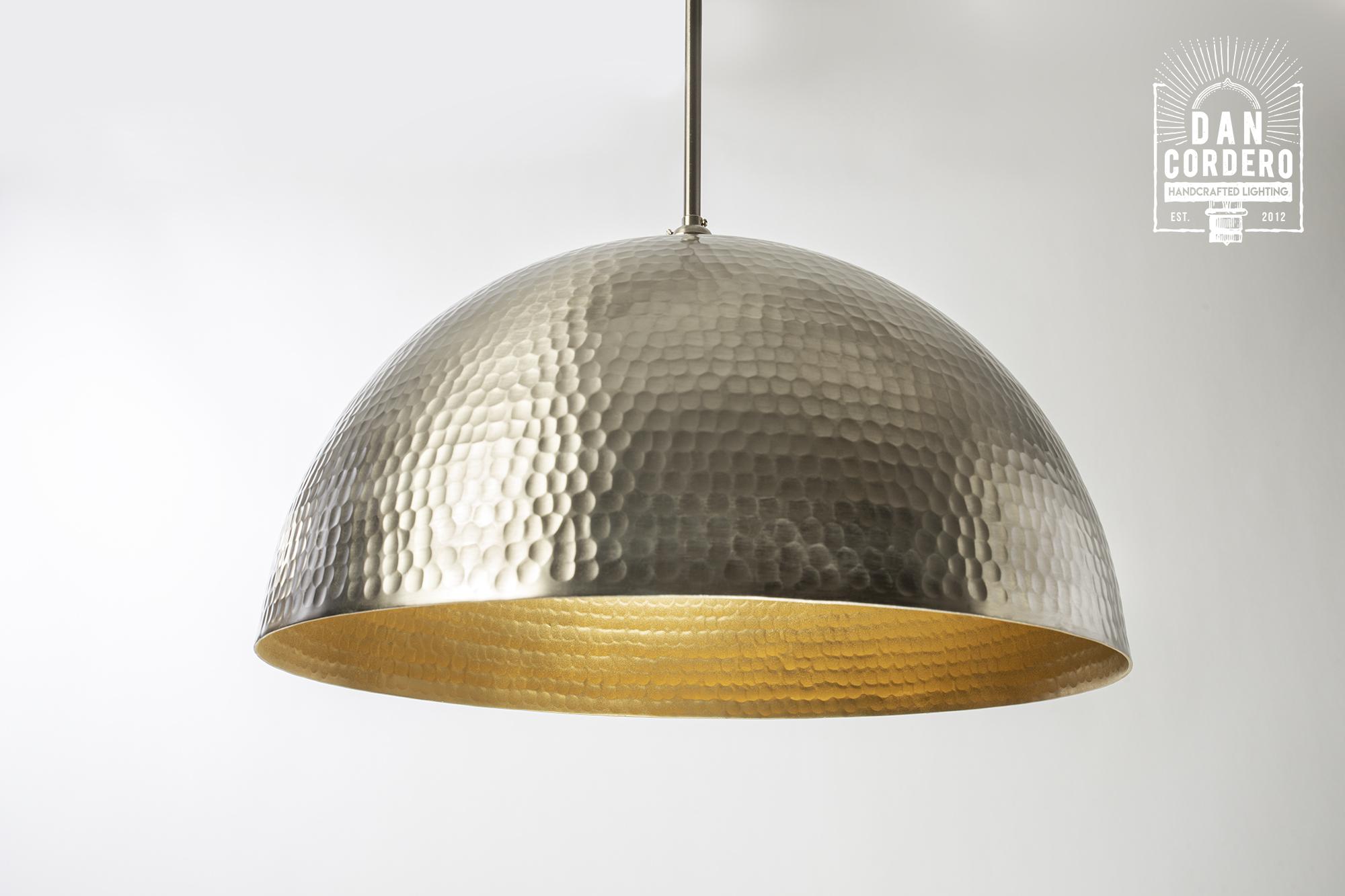 Oversized Brushed Nickel Hammered Pendant Light Fixture