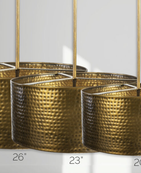 Aged Brass Hammered Drum Light Fixture