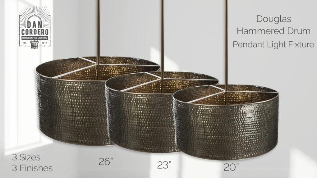 Bronze Hammered Drum Light Fixture