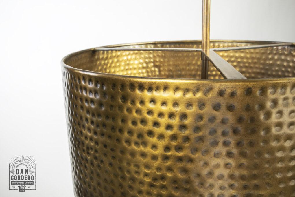 Aged Brass Drum Pendant Light