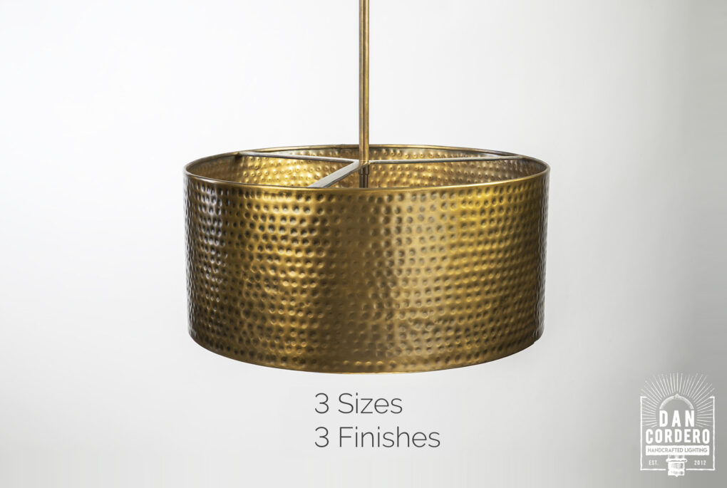 Hammered Drum Pendant Light Fixture
