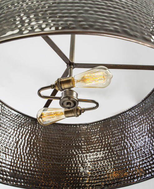 Handcrafted Hammered Drum Light Fixture