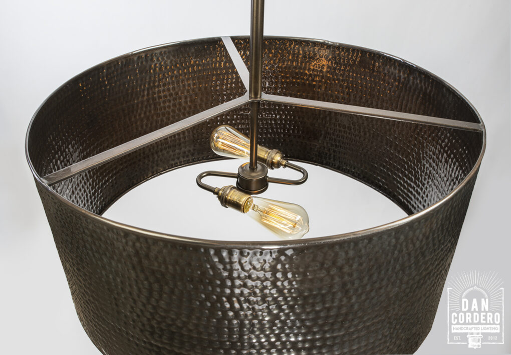 Handcrafted Hammered Drum Light Fixture