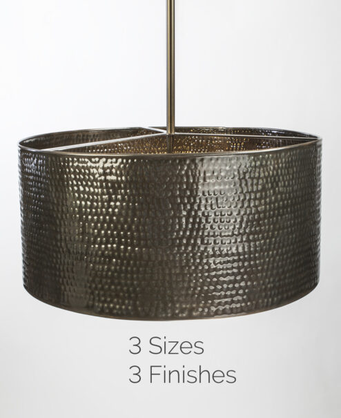 Bronze Hammered Drum Pendant Light Fixture