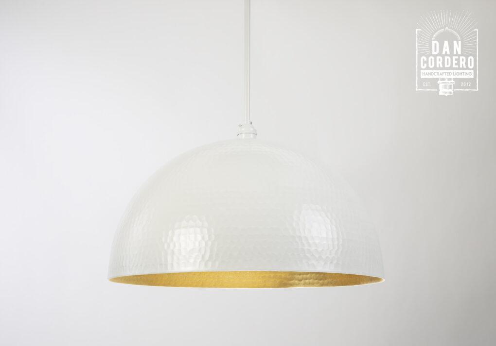 White Hammered Dome Pendant Light