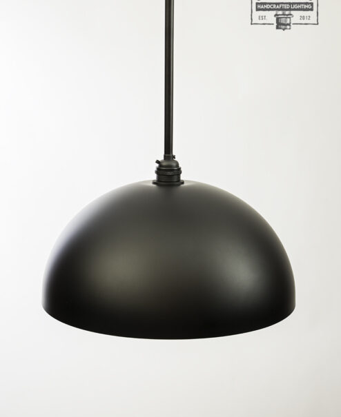 Flat Black Dome Pendant Light