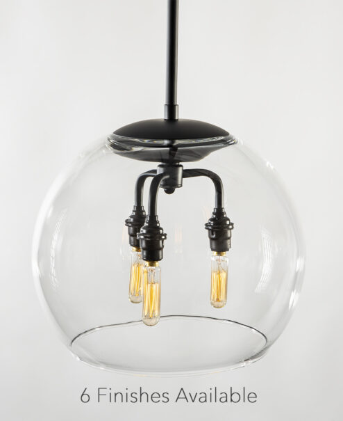 "12"" Glass Globe Pendant Light Fixture"