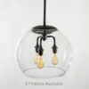 "12"" Glass Globe Pendant Light Fixture"
