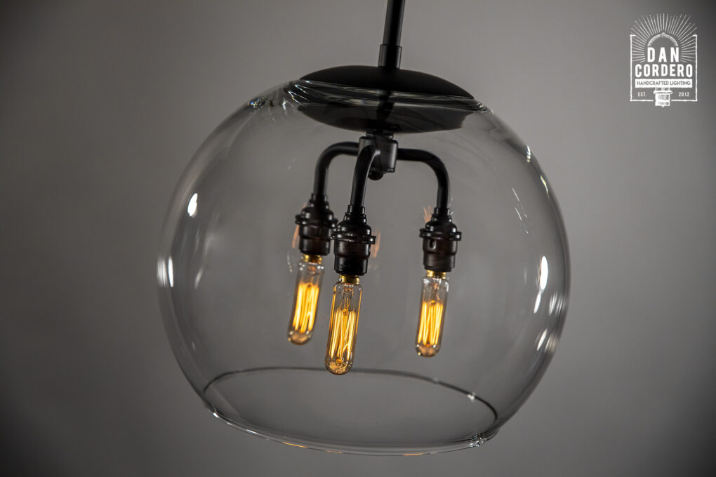 Dan Cordero Glass Globe Pendant Light Fixture