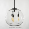 "16"" Glass Globe Pendant Light Fixture Featuring the Tublar Bulb"
