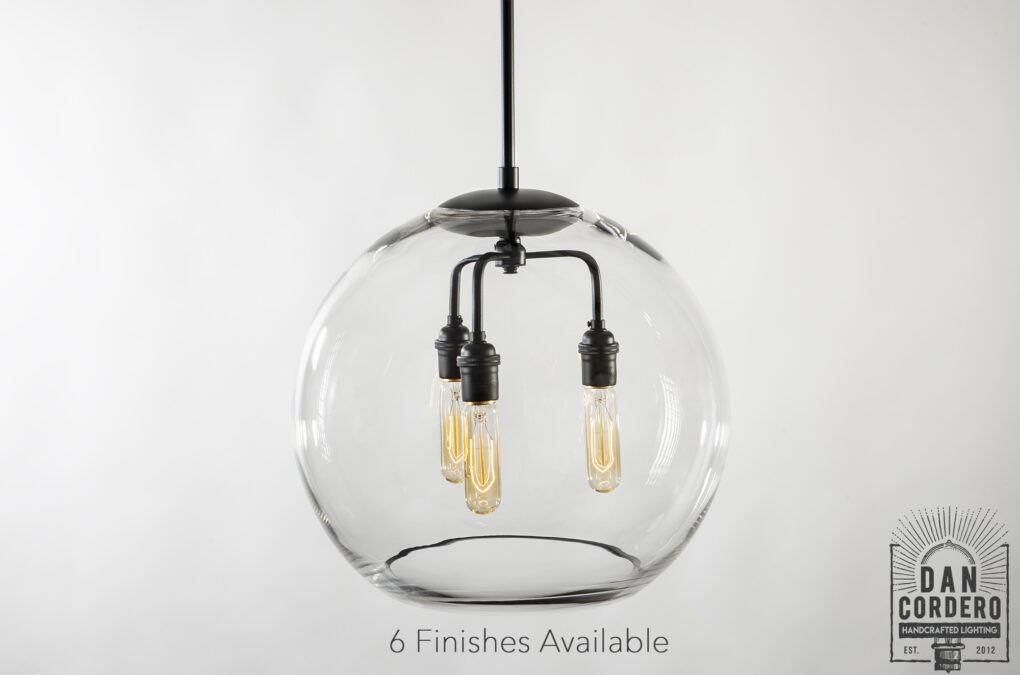 "16"" Glass Globe Pendant Light Fixture Featuring the Tublar Bulb"