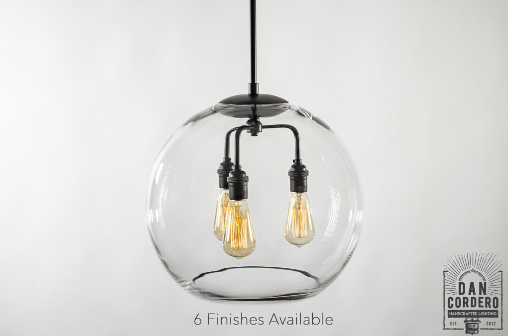 "16"" Glass Globe Pendant Light Fixture Featuring the Edison Bulb"