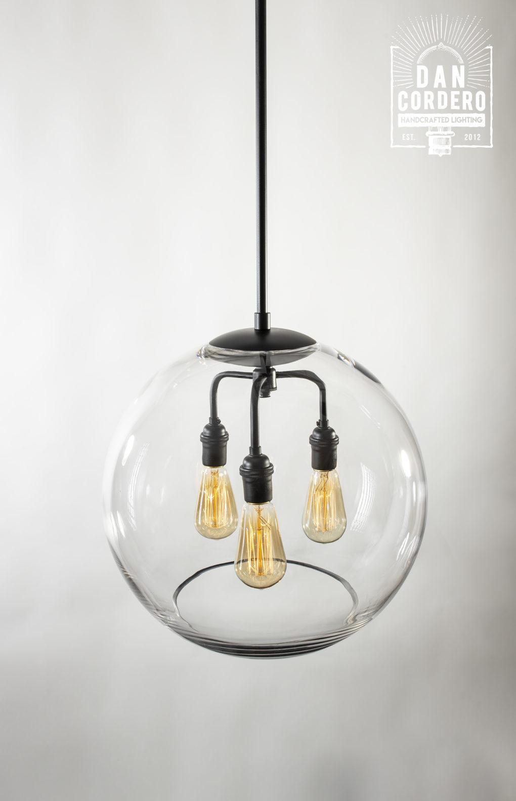 "16"" Glass Globe Pendant Light Fixture Featuring the Edison Bulb"