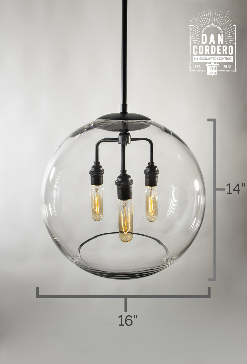 "16"" Glass Globe Pendant Light Fixture Specs"
