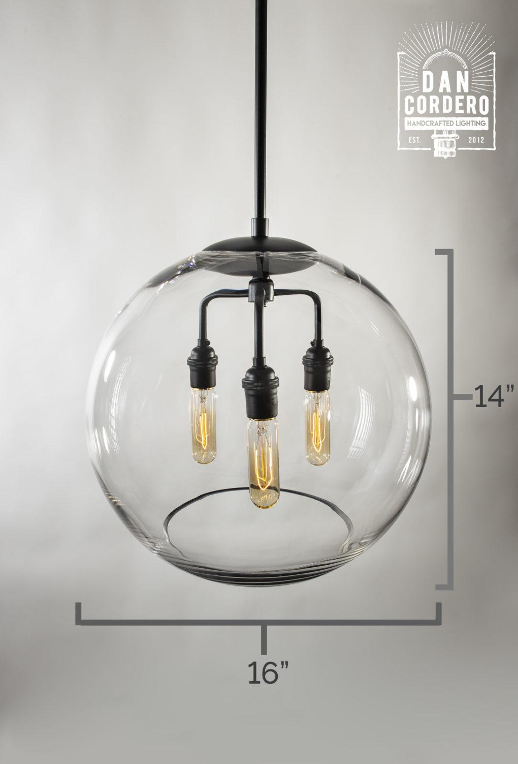 "16"" Glass Globe Pendant Light Fixture Specs"