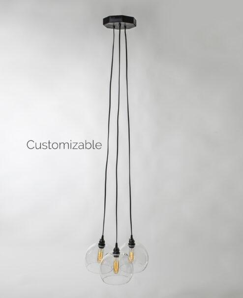 Hanging Glass Globe Pendant Light Fixture