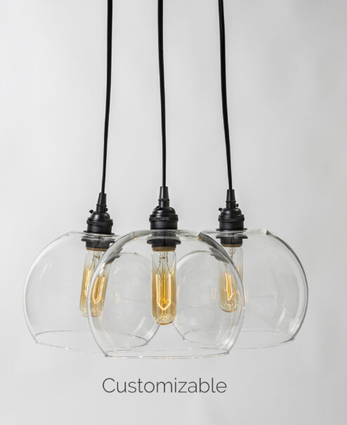 3 Glass Globe Chandelier Light Fixture