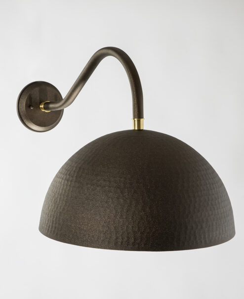Outdoor Bronze Hammered Dome Sconce
