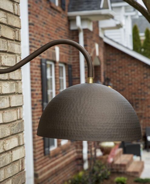 Outside Bronze Hammered Dome Sconce
