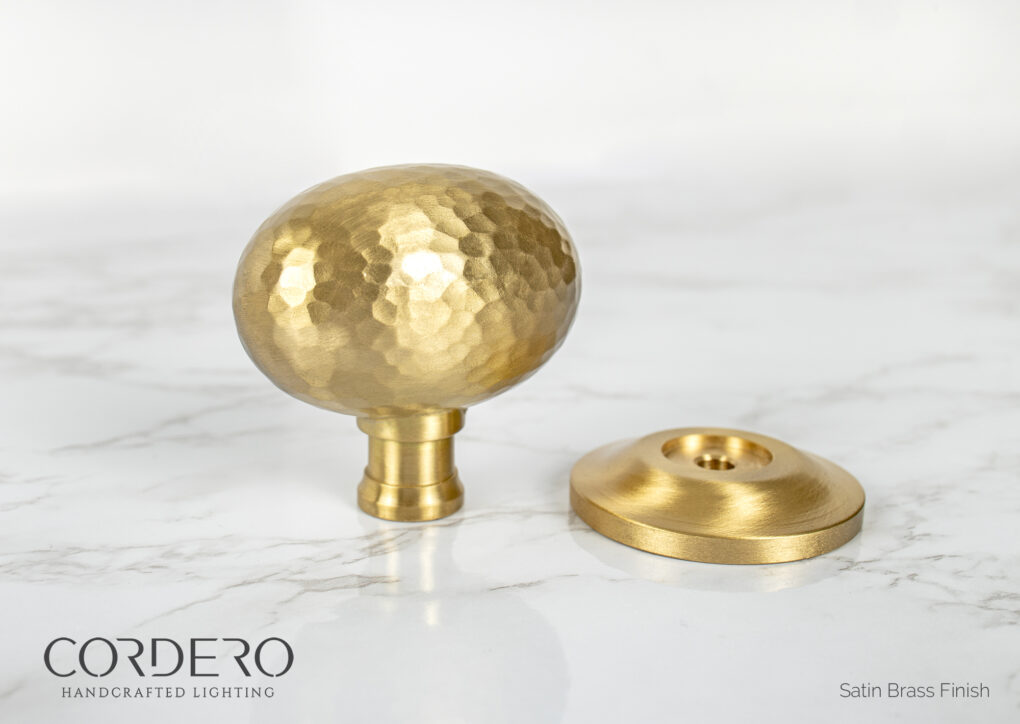 Satin Brass Hammered Door Knob
