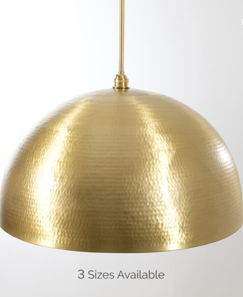 Brushed Brass Hammered Dome Pendant Light Fixture