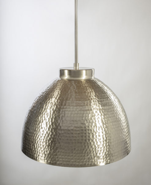 Brushed Nickel Hammered Dome