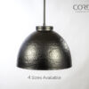 Hammered Black Dome Pendant Light