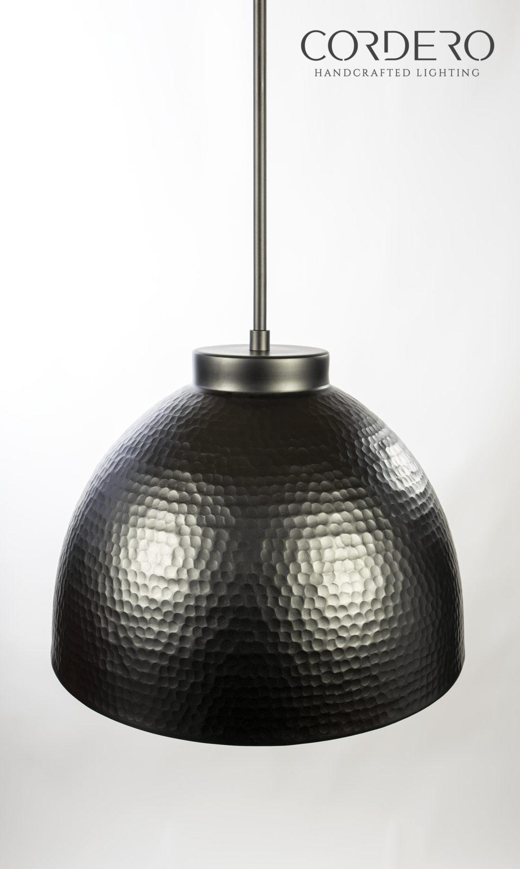 Hammered Black Dome Pendant Light