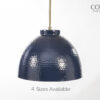 Navy Hammered Dome Light Fixture