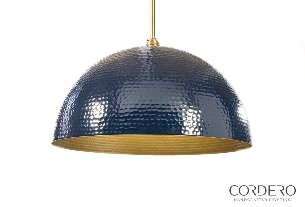 Navy Hammered Dome Pendant Light