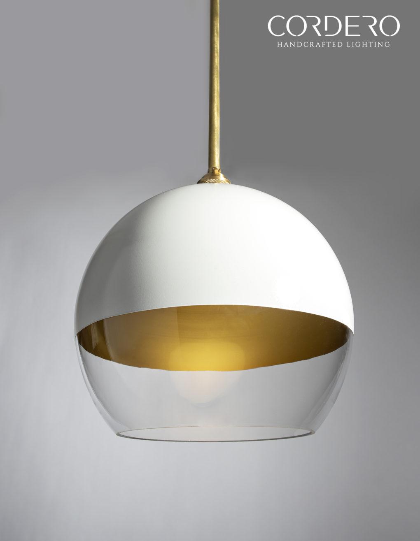 White and Gold Globe Pendant