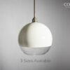 Half White Glass Globe Pendant