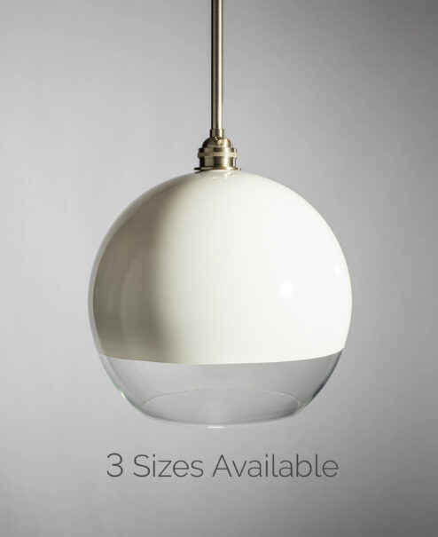 Half White Glass Globe Pendant