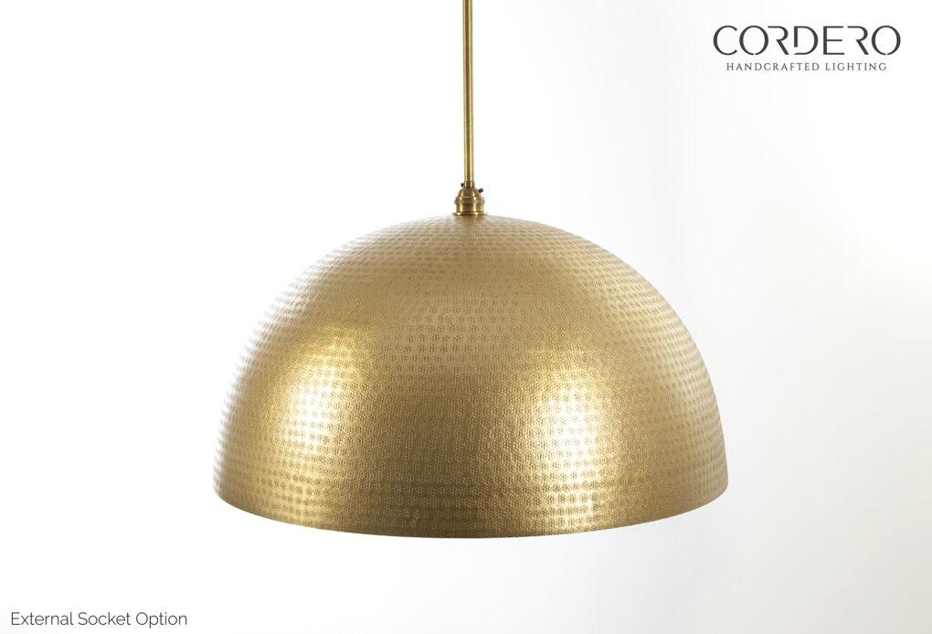 Brass Hammered Dome Pendant Light