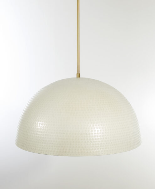 White and Gold Hammered Dome Pendant Light